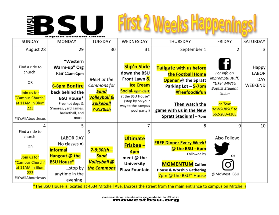 Don't miss out on a moment of all that's going on around the BSU!